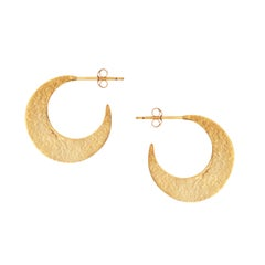 Textured Crescent Hoop Earrings in Gold by Allison Bryan