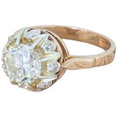 Retro 2.26 Carat Old European Cut Diamond Cluster Ring