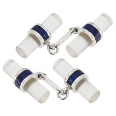 Jona Rock Crystal Blue Enamel 18 Karat White Gold Cufflinks