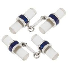 Jona Rock Crystal Blue Enamel 18 Karat White Gold Cufflinks
