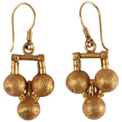 22 Karat Gold Traditional Gold Ball Earrings from India