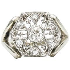 .43 Carat 14 Karat White Gold Platinum Diamond Edwardian Ring