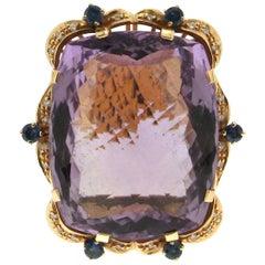 Amethyst, 18 Karat Yellow Gold, Diamonds, Sapphires, Cocktail Ring