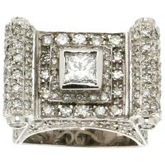 Old Diamonds, Cut Princess, White Gold 18 Karat, Cocktail Ring