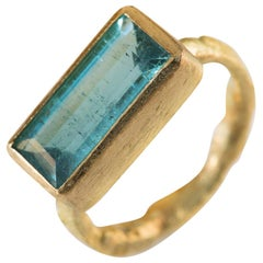Baguette Blue Tourmaline 18 Karat Gold Cocktail Ring Handmade by Disa Allsopp