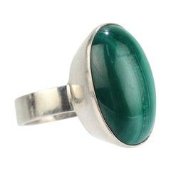 1970s Kaunis Koru Modernist Sterling Silver and Malachite Ring