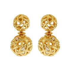 Valentin Magro Woven Gold Ball Diamond Earrings