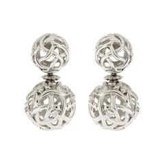Valentin Magro Woven White Gold Ball Diamond Earrings