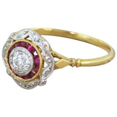 Art Deco 0.30 Carat Old Cut Diamond and Ruby Target Ring
