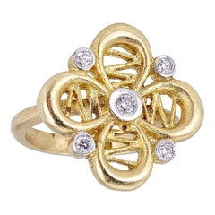 Tanya Farah 18 Karat Gold Diamond Passion Flower Ring