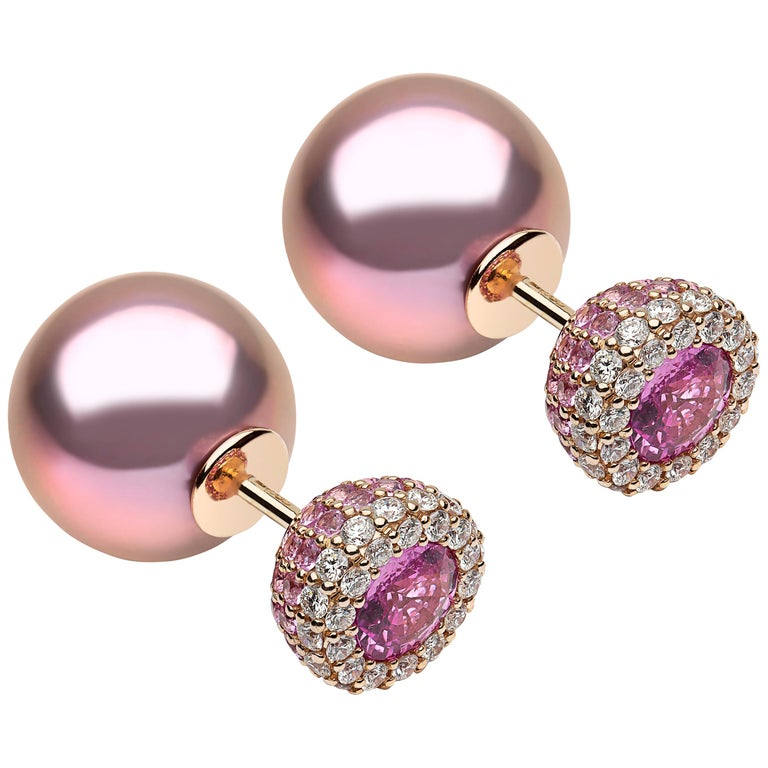 Yoko London Freshwater Pearl, Diamond & Pink Sapphire Earrings, in 18K Rose Gold For Sale