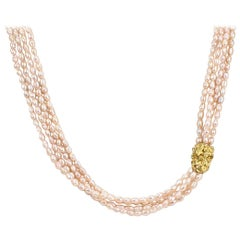 Arthur King 18 Karat Gold and Fresh Water Pearl Multi-Strand Necklace
