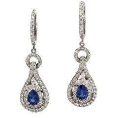 2.50 Carat 18 Karat White Gold Diamond Sapphire Dangle Drop Earrings