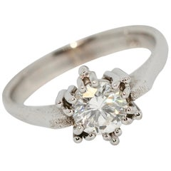 Certified 1.01 Carat Flawless, Top Wesselton Diamond Solitaire, White Gold Ring