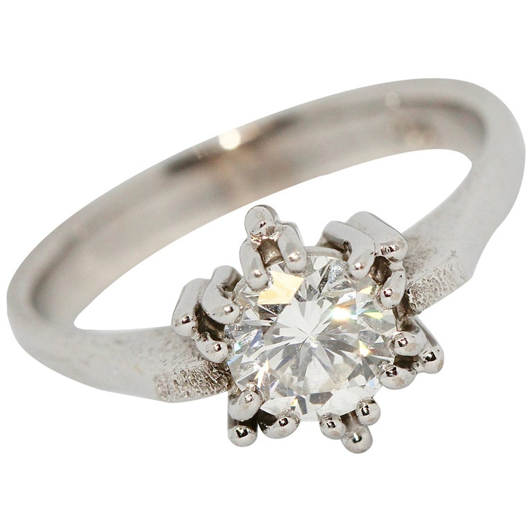 Certified 1.01 Carat Flawless, Top Wesselton Diamond Solitaire, White Gold Ring For Sale