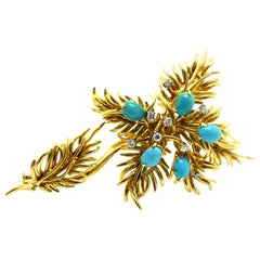 David Webb Turquoise and Diamond Floral Brooch 18 Karat Gold