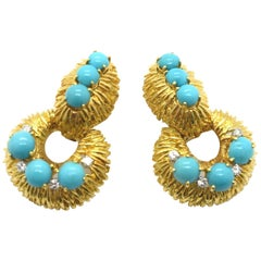 David Webb Turquoise and Diamond Door Knocker Earrings 18 Karat Gold