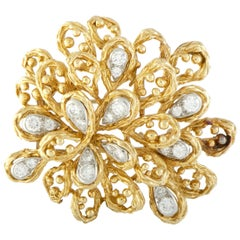 Van Cleef & Arpels Diamond Yellow and White Gold Large Floral Brooch