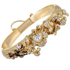 Antique Diamond Floral Yellow Gold Bangle Bracelet