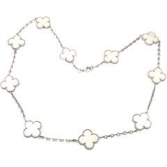 Van Cleef & Arpels Vintage Alhambra Mother of Pearl Gold Ten Motif Necklace