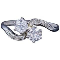 Antique Edwardian Diamond Twist Ring Platinum Engagement Ring, circa 1915