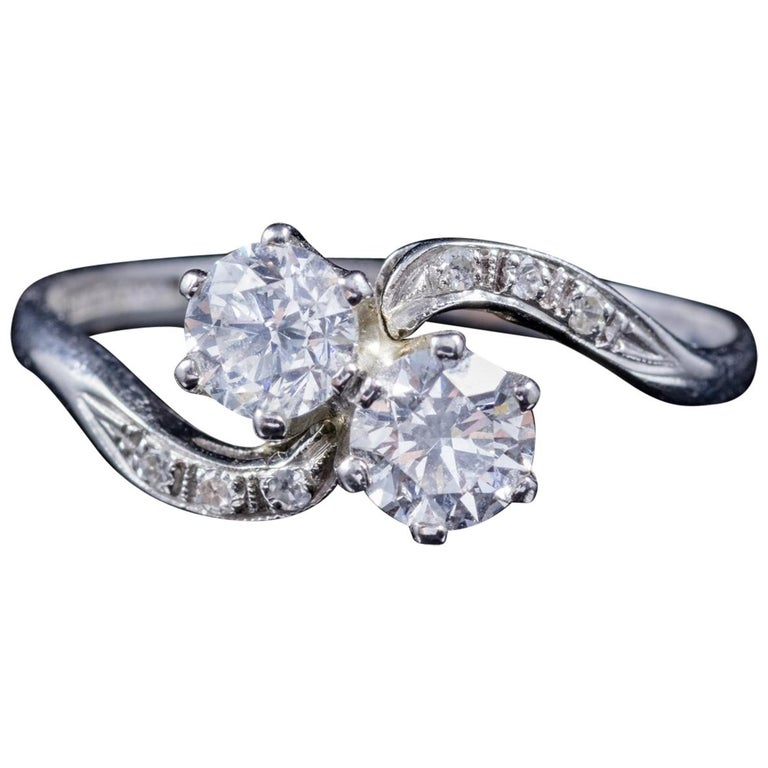 Edwardian Engagement Rings For Sale: Antique Edwardian Diamond Twist Ring Platinum Engagement