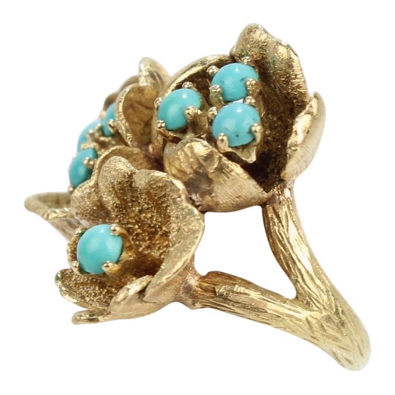 Fine J Rossi 18 Karat Gold and Turquoise Cluster Figural Flower Ring For Sale