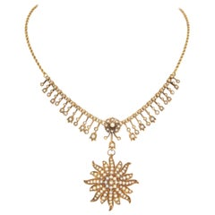 Victorian Seed Pearl Starburst Gold Necklace with Removable Brooch