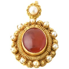 Victorian Revival Carnelian and Pearl Gold Pendant Charm