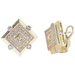 Tanya Farah 18K Gold Art Deco Diamond Square Earrings