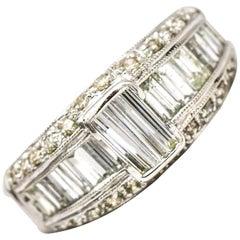1.50 Carat 18 Karat White Gold Baguette Diamond Band Ring