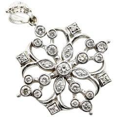 Diamond Filigree Snowflake Pendant 14 Karat White Gold