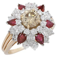 Oscar Heyman Brothers Diamond and Ruby 18 Karat Yellow Gold Cocktail Ring