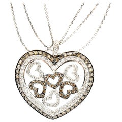 14 Karat White Gold and White or Champagne Diamond Heart Necklace 2.92 Carat