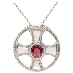 14 Karat White Gold, Diamond, Pink Tourmaline and Mother of Pearl Necklace