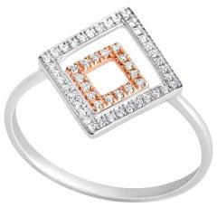52 Microset Rose White Gold Diamond Geometric Design Engagement Ring