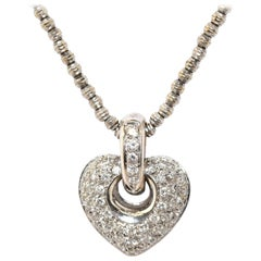 14 Karat White Gold Pave Diamond Heart Pendant Necklace