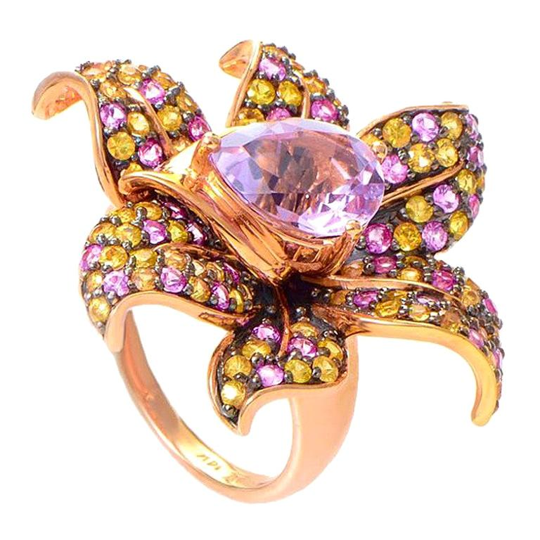 Le Vian Sapphire and Kunzite Rose Gold Flower Ring For Sale