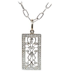 14 Karat White Gold and 0.60 Carat Diamond Pendant 3.90 Grams