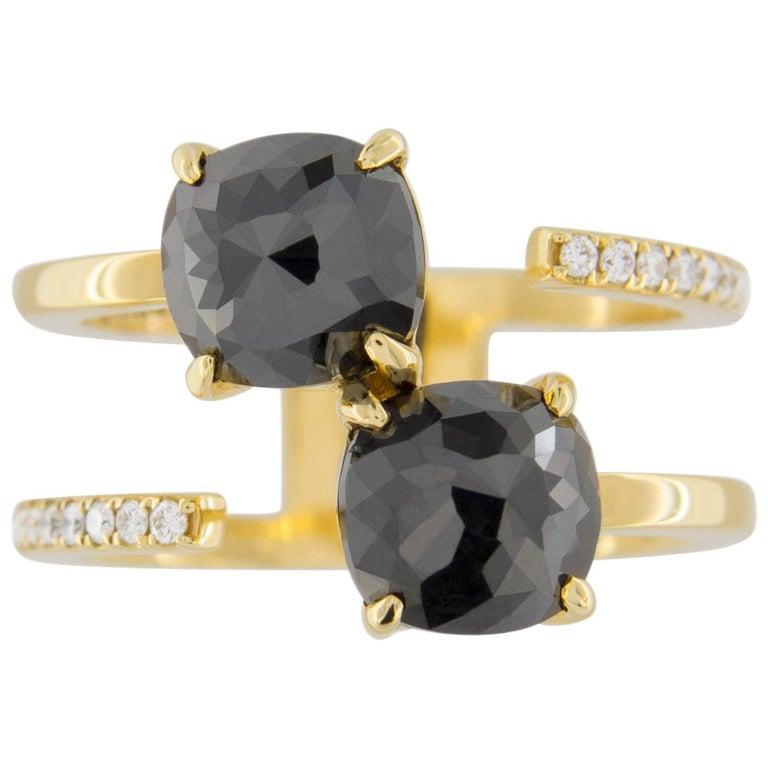 Jona Black Diamond and White Diamond 18 Karat Yellow Gold Open Ring Band