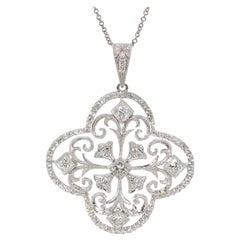 18 Karat Gold and 1.20 Carat Diamond Flower Pendant 14 Karat Chain Necklace