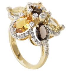 LeVian Smoky Topaz Citrine Gold Flower Ring