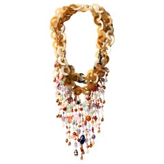 Bone Chain Multi Fringe 18 Karat Yellow Gold Rainbow Necklace