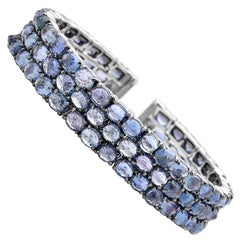 Paolo Costagli 18 Karat White Gold Blue Sapphire and Diamond Cuff Bracelet