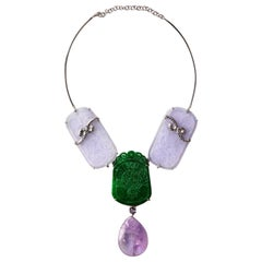 18 k White Gold Carved Antiques Jade Amethyst Necklace