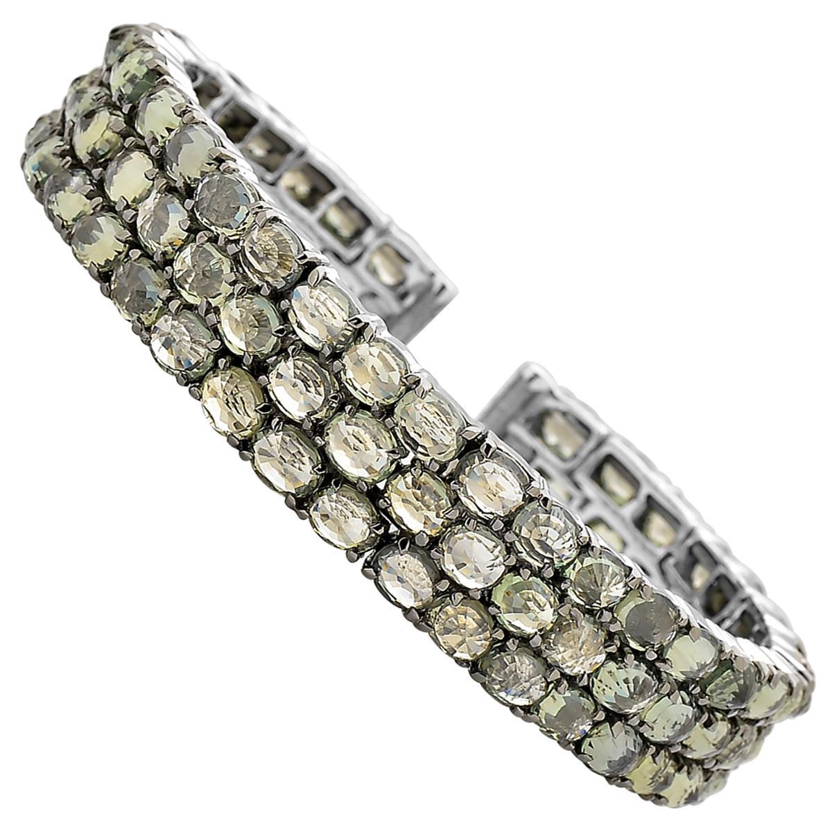 Paolo Costagli 18 Karat White Gold Green Sapphire and Diamond Cuff Bracelet