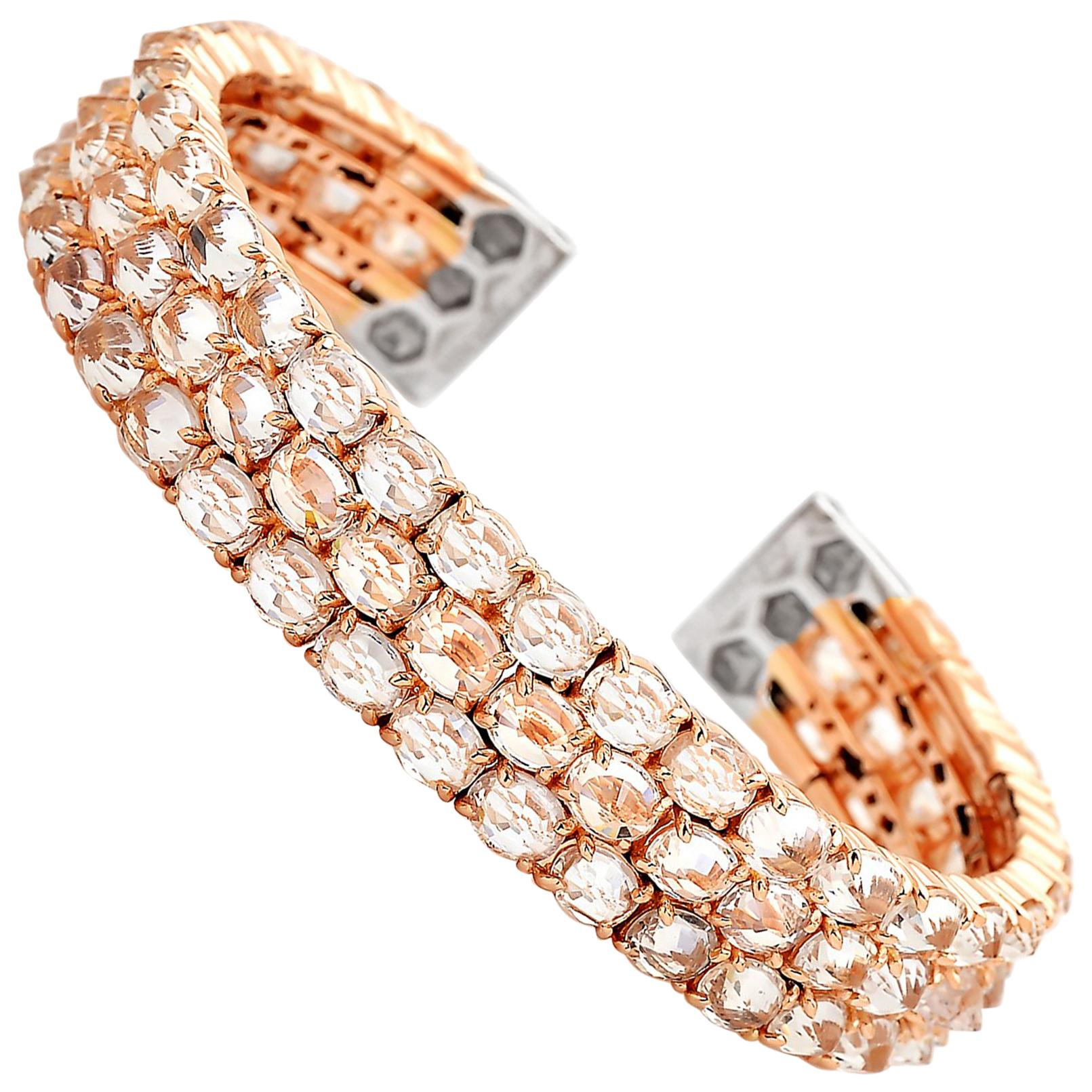 Paolo Costagli 18 Karat Rose Gold White Sapphire and Diamond Cuff Bracelet