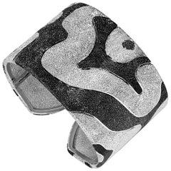Sterling Silver Platinum Textured Hinged Cora Cuff Bracelet