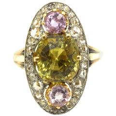 Chrysoberyl Diamond and Pink Sapphire 18 Karat and Platinum Naivete Ring