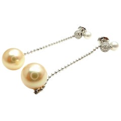 Mikimoto Golden South Sea Pearl Diamond White Gold Earrings